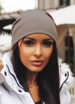 Женская шапка из дайвинга капучино, шапка демисезонная, молодежная шапка бини, женская шапка недорого