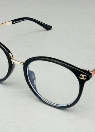 Chanel очки женские имиджевые оправа для очков черная с металлическими дужками