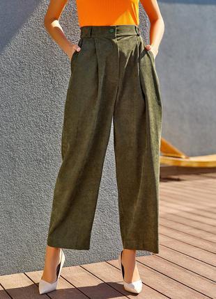 Вельветовые брюки широкого кроя, широкі вельветові штани