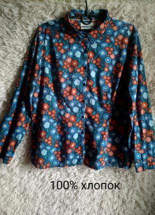 Стильная рубашка в цветочек, блуза прямая, к джинсам