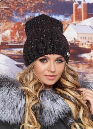 Женская шапка с люрексом, фирма брекстон жіноча шапка