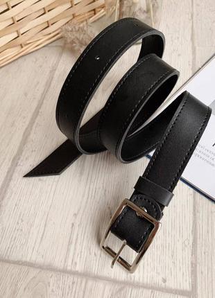 Базовый чёрный ремень ремешок эко кожа с квадратной пряжкой
