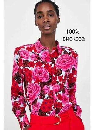 Стильная актуальная прямая рубашка, блуза в цветочек, зара, вискоза с длинным рукавом