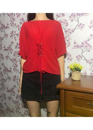 Оверсайз красная блуза на шнуровке 16 44 xxl eur52