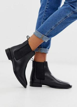 Натуральные кожаные ботинки челси asos