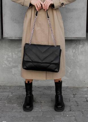 Стеганая сумка клатч конверт с цепочкой черная как в reserved