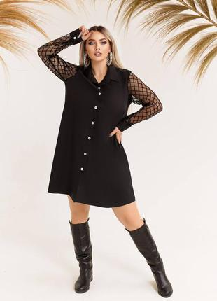 Стильное платье рубашка женское черное