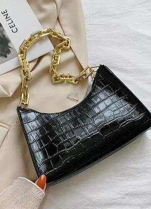 Сумка лаковая с массивной цепью и тиснением под крокодилувую кожу (6 цветов) женская сумочка купить недорого