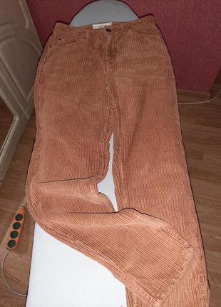 😍трендові класні брюки штани вельветові вельвет вельветови коричневі рижи джинси джинс деми теплі тепли зима базові базови класичні