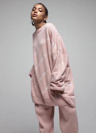Трендовый костюм, женский вязанный костюм, повседневный теплый костюм (12019)