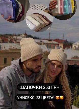 Трикотажные шапочки с подворотни унисекс