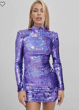 Bershka платье сукня с длинными рукавами, расшитое пайетками