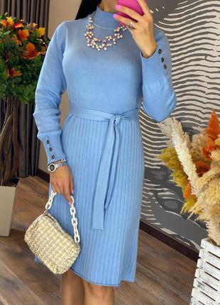 Элегантное стильное и удобное теплое женское платье миди