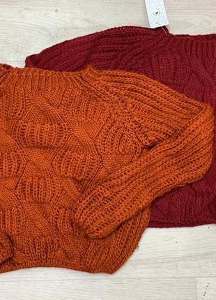 В'язана кофта коса светр червоний оранжевий