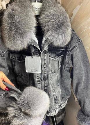 Шикарная женская джинсовая куртка с натуральным мехом🔥весна осень