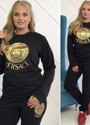 Костюм черный большие размеры спортивно повседневный в стиле версаче золото черный