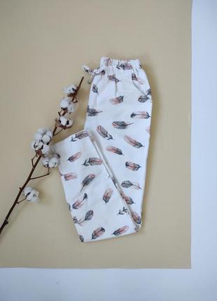 Женские пижамные штаны из байки перышки