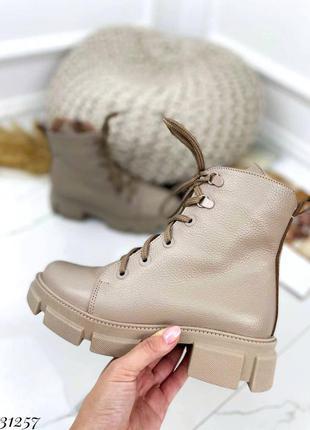 31257 высокие кожаные ботинки на байке на шнуровке