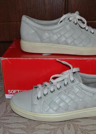 Кожаные туфли-кеды ecco (оригинал). размер 39 (us - 8).