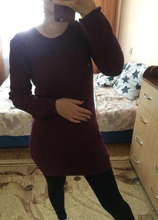 Тёплое бардовое вязаное платье / туника с длинными рукавами