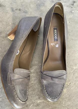 Классные кожаные туфли лоферы ecco 41🤎