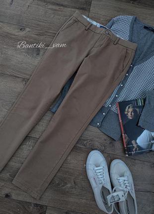 Котоновые брюки женские штаны бежевые