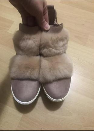 Ботинки пудра с мехом демисезонные, полуботинки, кроссовки, слипоны