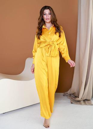 Яркий желтый костюм рубашка и штаны, домашний костюм шелк армани горчичный пижама