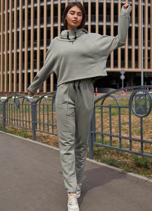 Прогулочный костюм стинг серо-оливковый - jadone fashion