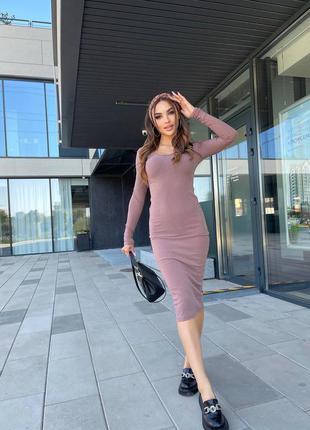 Платье рубчик миди, стильное платье по фигуре, платье лапша, платье миди (арт 18005)