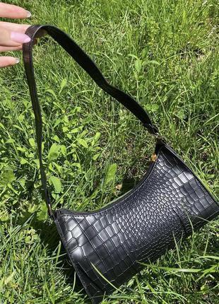 Сумка сумочка крокодил рельеф черная чорна винтаж ретро маленькая клатч багет