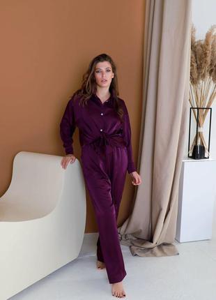Домашний костюм шелк армани фиолетовый, пижама рубашка и штаны шелк