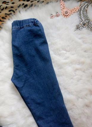 Синие джинсы скинни  без карманов высокая талия на резинке американки джеггинсы2