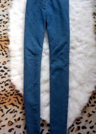 Синие джинсы скинни  без карманов высокая талия на резинке американки джеггинсы3