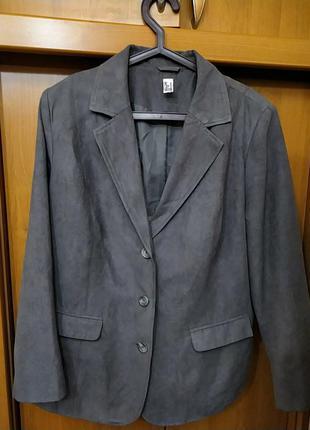 52-56!батал большой размер шикарный серый замшевый стильный пиджак жакет блейзер