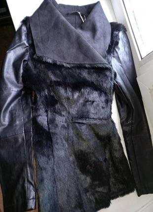 Куртка жакет с мехом эко кожа