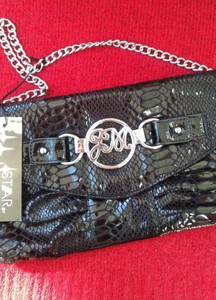 Шикарная новая сумка клатч на цепочке под кожу крокодила julien macdonald
