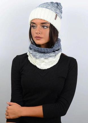 Зимний комплект шапка+снуд