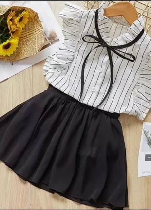 Школьная юбка с шортиками черная шифоновая юбка для школы