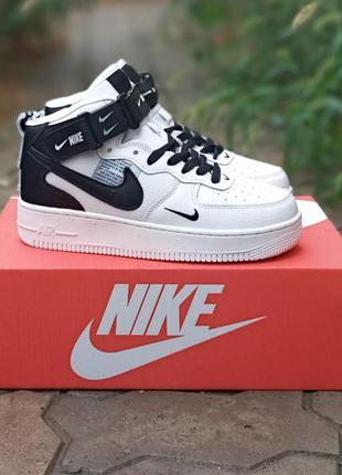 Подростковые кроссовки nike air force кожаные, хайтопы, белые