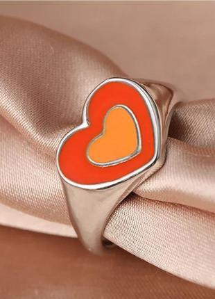 Кольцо сердечки стильное колечко сердце