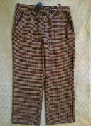 Новые с биркой классические укороченные тёплые брюки в клетку f&f размер 10
