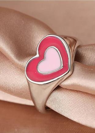 Кольцо сердце стильное колечко сердечки