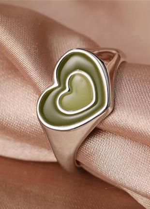 Тренд кольцо сердце стильное колечко сердечко