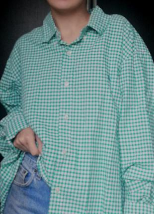 Базовая зелёная  рубашка в клетку ralph lauren с вышитым лого