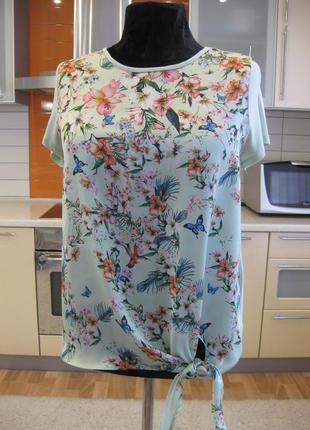 Лёгкая натуральная блуза, цветочный принт !!!