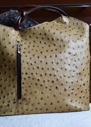 Кожаный рюкзак сумка трансформер под страуса. натуральная кожа италия