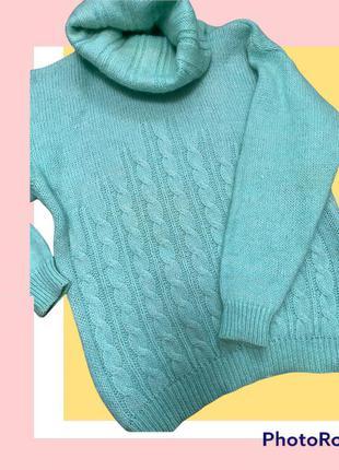 100% шерсть. тёплый свитер бирюзового цвета м