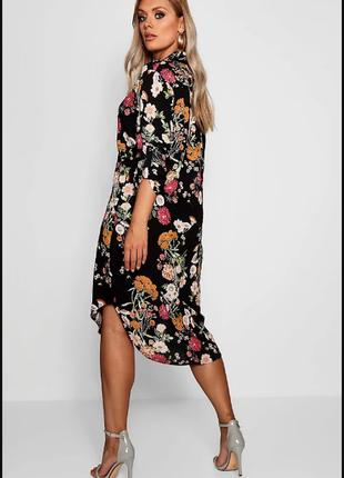 Модное платье-рубашка миди длины в цветочный принт / платье халат boohoo.плюс сайз