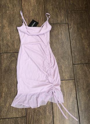 Новое летнее платье с бирками лиловое брендовое prettylittlething